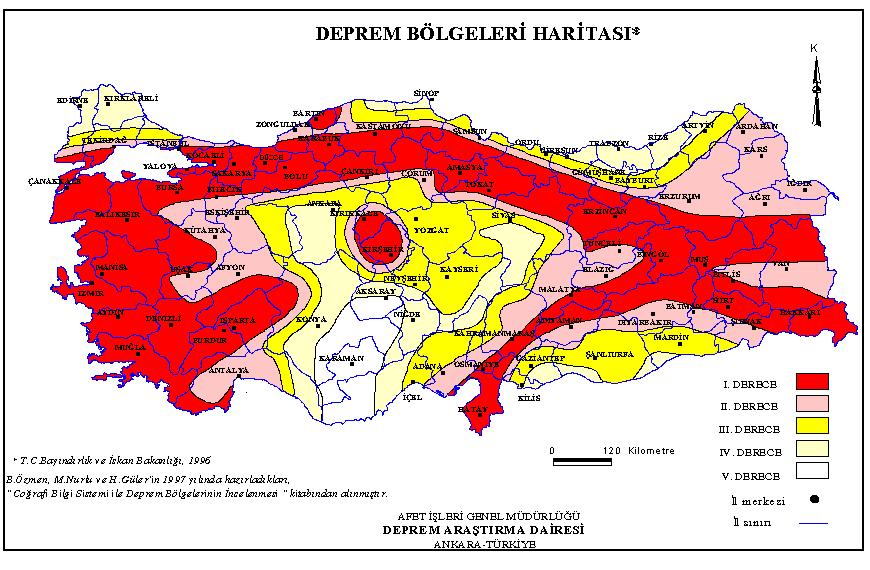 2020 Türkiye Tehlikeli Deprem Bölgeleri